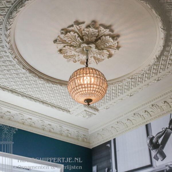 ornamenten, rozet, plafonddecoratie, showroom